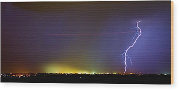 Jet Over Colorful City Lights And Lightning Strike Panorama Wood Print by James BO  Insogna