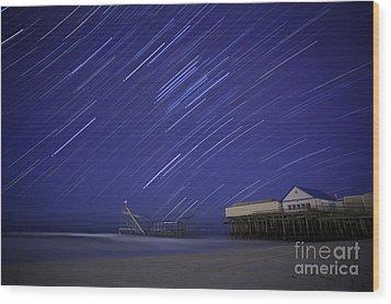 Jet Star Trails Wood Print by Amanda Stevens
