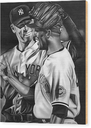 Jeter And Mariano Wood Print by Jerry Winick
