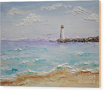 Jetty Lighthouse Wood Print by Jimmie Bartlett