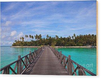 Jetty On Tropical Island Wood Print by Fototrav Print