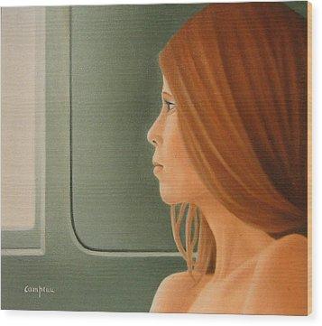 Jeune Fille Dans Un Train Wood Print by Michel Campeau