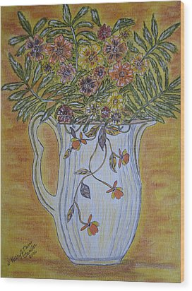 Jewel Tea Pitcher With Marigolds Wood Print by Kathy Marrs Chandler
