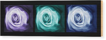 Jewel Tone Abstract Roses Triptych Wood Print by Jennie Marie Schell