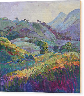 Jeweled Hills Wood Print by Erin Hanson