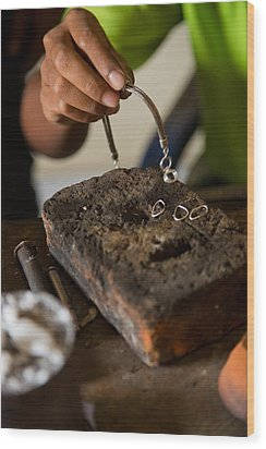 Wood Print featuring the photograph Jewelry Making - Bali by Matthew Onheiber