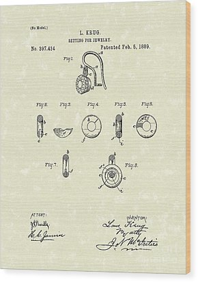 Jewelry Setting 1889 Patent Art Wood Print by Prior Art Design