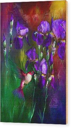 Jewels Of Summer Wood Print by Carol Cavalaris