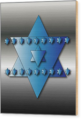 Wood Print featuring the digital art Jewish Stars by Marvin Blaine