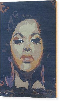 Wood Print featuring the painting Jill Scott by Rachel Natalie Rawlins