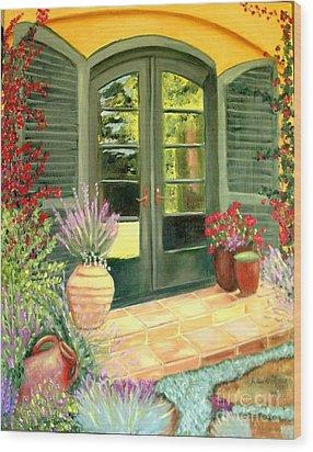 Jill's Patio Wood Print by Laurie Morgan
