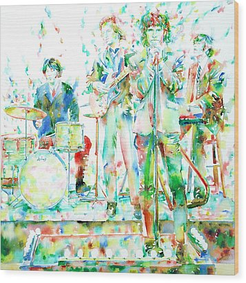 Jim Morrison And The Doors Live On Stage- Watercolor Portrait Wood Print by Fabrizio Cassetta