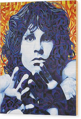 Jim Morrison Chuck Close Style Wood Print by Joshua Morton