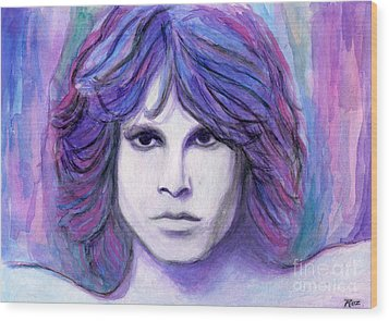 Jim Morrison Wood Print by Roz Abellera Art