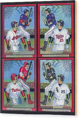 Wood Print featuring the mixed media Jim Thome Hits 600th Home Run by Ray Tapajna