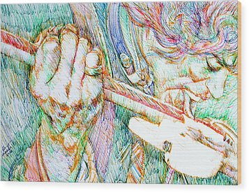 Jimi And His Guitar Wood Print by Fabrizio Cassetta