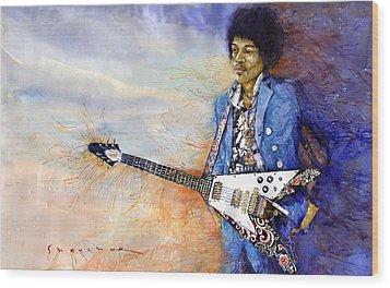 Jimi Hendrix 10 Wood Print by Yuriy Shevchuk