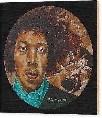 Jimi Hendrix B Wood Print
