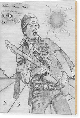 Jimi Hendrix Wood Print by Dan Twyman