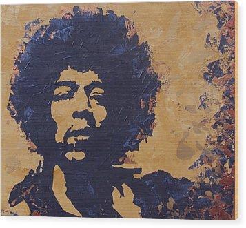 Jimi Hendrix Wood Print by David Shannon