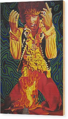 Jimi Hendrix Fire Wood Print by Joshua Morton