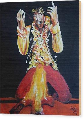 Jimi Hendrix - Fire Wood Print by Tom Carlton