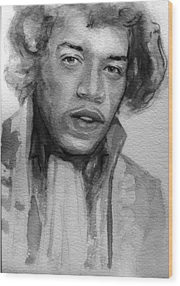 Wood Print featuring the painting Jimi Hendrix by Laur Iduc