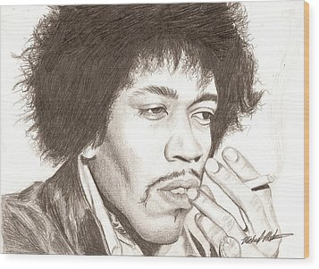 Jimi Hendrix Wood Print by Michael Mestas