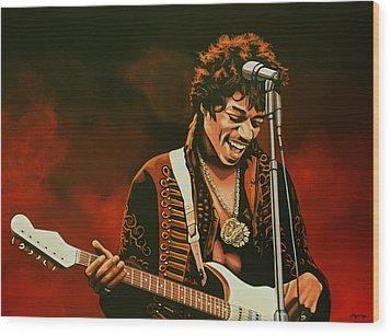 Jimi Hendrix Painting Wood Print by Paul Meijering
