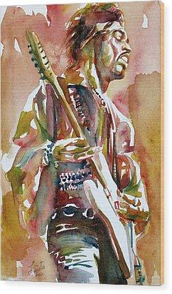 Jimi Hendrix Playing The Guitar Portrait.3 Wood Print