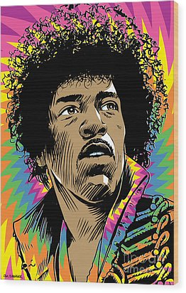 Jimi Hendrix Pop Art Wood Print by Jim Zahniser