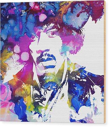 Jimi Hendrix - Psychedelic Wood Print by Doc Braham
