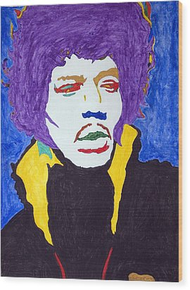 Jimi Hendrix Purple Haze  Wood Print by Stormm Bradshaw