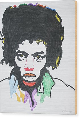 Wood Print featuring the painting Jimi Hendrix by Stormm Bradshaw