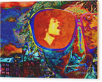 Wood Print featuring the digital art Jimi Lives by Mojo Mendiola