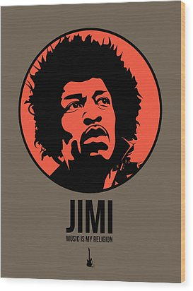 Jimi Poster 1 Wood Print by Naxart Studio