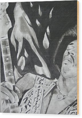 Jimmy Hendrix Wood Print by Aaron Balderas