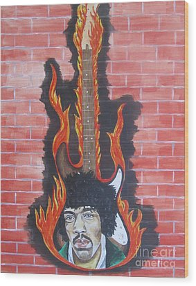 Wood Print featuring the painting Jimmy Hendrix And Guitar by Jeepee Aero