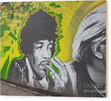 Jimmy Hendrix Mural Wood Print