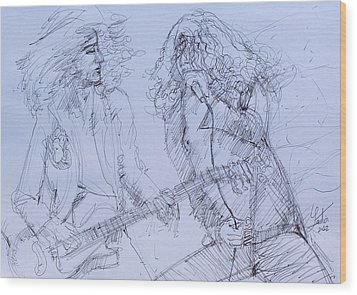 Jimmy Page And Robert Plant Live Concert-pen Portrait Wood Print by Fabrizio Cassetta