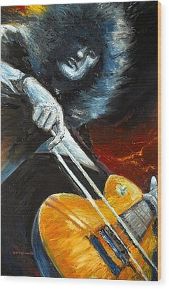Jimmy Page Dazed And Confused Wood Print by Mike Underwood