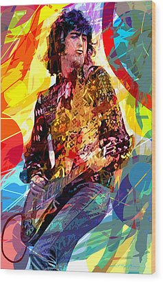 Jimmy Page Leds Lead Wood Print by David Lloyd Glover