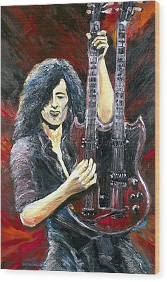 Jimmy Page The Song Remains The Same Wood Print by Mike Underwood