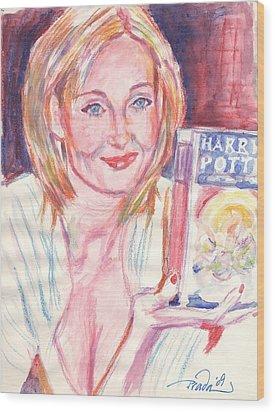 Jk Rowling Happy Wood Print by Horacio Prada