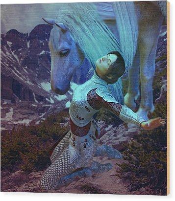 Joan Of Arc  Blue Visions Wood Print