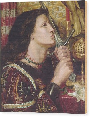 Joan Of Arc Kisses The Sword Of Liberation Wood Print by Philip Ralley