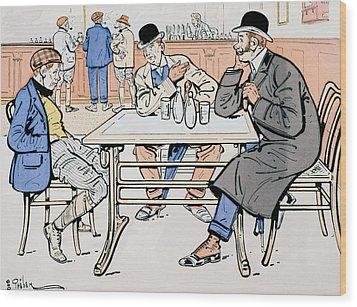 Jockey And Trainers In The Bar Wood Print by Thelem
