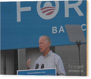 Joe Biden Wood Print by Lisa Gifford