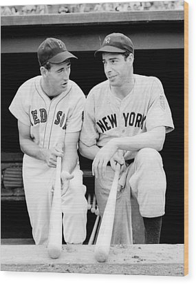 Joe Dimaggio And Ted Williams Wood Print