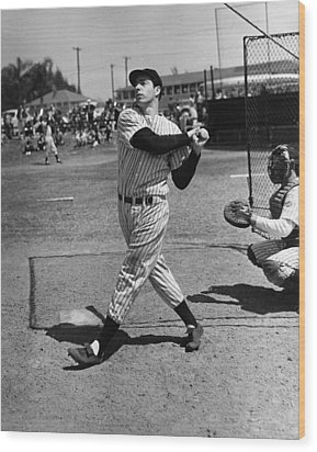 Joe Dimaggio Hits A Belter Wood Print by Gianfranco Weiss
